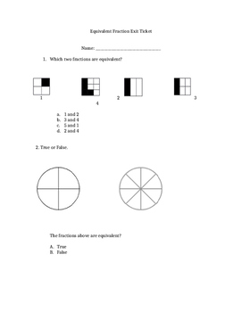 Equivalent Fraction Exit Ticket