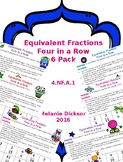 Equivalent Fraction Four in a Row 6 Pack Preview FREEBIE