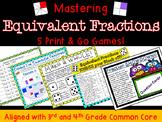 Equivalent Fraction Math Center Games- FIVE!!!  Number Line, Problem Solving