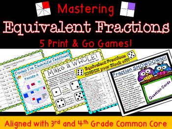 Equivalent Fraction Math Center Games- FIVE!!!  Number Lin
