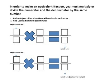 Equivalent Fraction Graphic Organizer