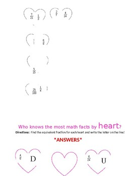Equivalent Fraction Hearts