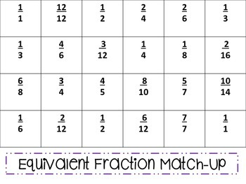Equivalent Fraction Match-Up