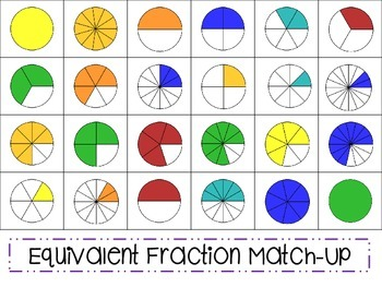 Equivalent Fractions Matching Game & Worksheets | TpT