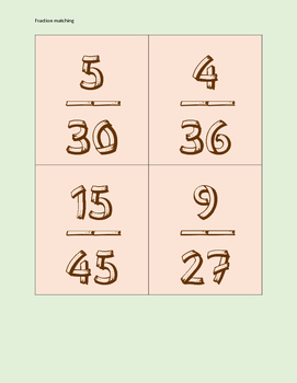 Equivalent Fraction Matching