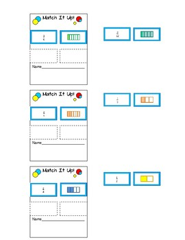 Equivalent Fraction Matching Activity- Can print onto post