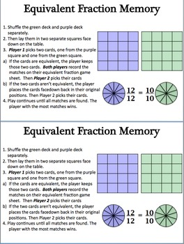 Fractions: Equivalent Fraction Memory Game