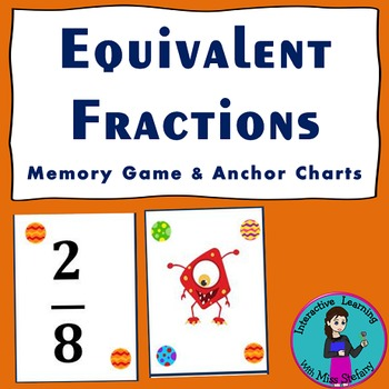 Equivalent Fractions Memory Game & Anchor Charts {Aliens}