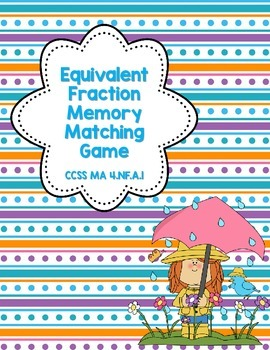 Equivalent Fraction Memory Game-Spring Theme