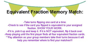 Equivalent Fraction Memory Matching Game