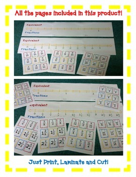 Equivalent Fraction Number Line Common Core- A FUN Hands-On Activity