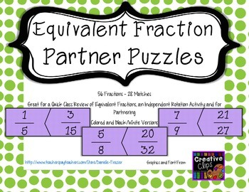 Equivalent Fraction Partner Puzzles