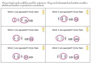 Equivalent Fraction Poke Cards