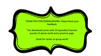 Equivalent Fraction Puzzles
