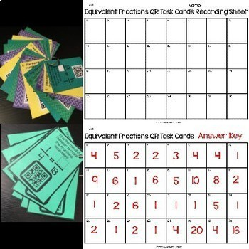Equivalent Fraction QR Code Task Cards