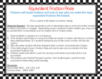 Equivalent Fraction Race FREEBIE