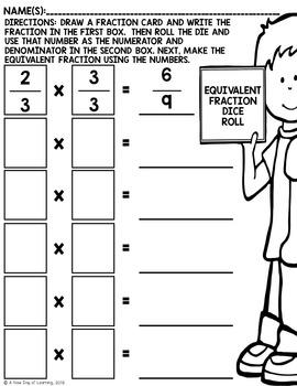 Equivalent Fraction Roll - Math Center