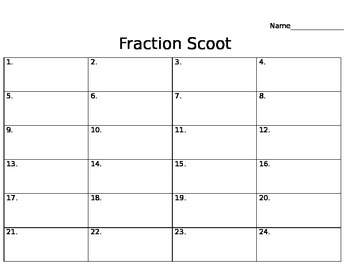Equivalent Fraction Scoot Game