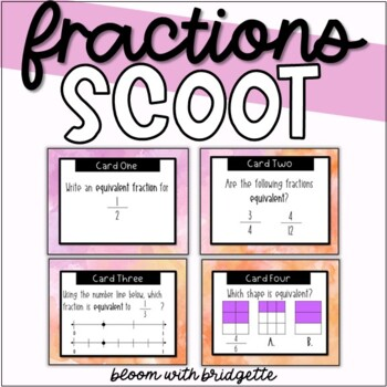 Equivalent Fraction Scoot - Watercolor Themed