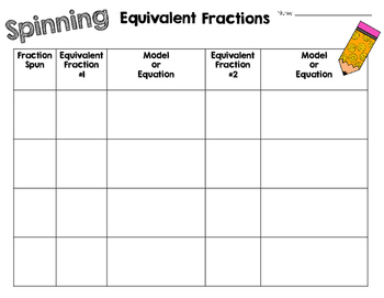 Equivalent Fraction Spinner Activity