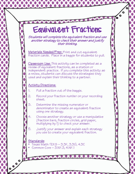 Equivalent Fraction Station