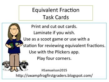 Equivalent Fraction Task Card Freebie