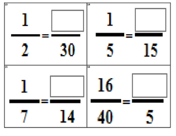 Equivalent Fraction Task Cards (28 Cards) TEK 3.3G