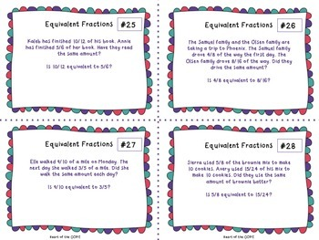 Equivalent Fraction Task Cards { Differentiated } Common Core Aligned NF