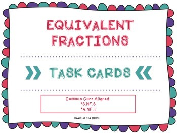 Equivalent Fraction Task Cards { Differentiated } Common C
