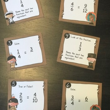 Task Cards Equivalent Fractions Freebie - Thanksgiving Freebie
