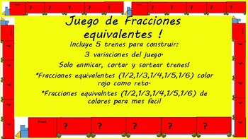 Equivalent Fraction Train Game-Spanish included