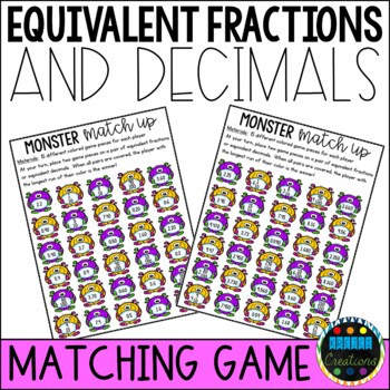 Equivalent Fraction and Decimal Match Up Game