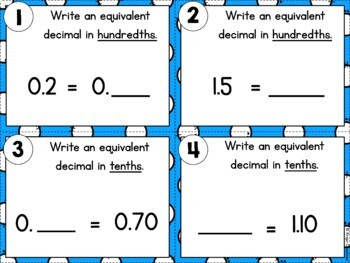 Equivalent Fraction and Decimal Task Cards