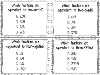 Equivalent Fraction task cards