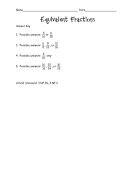Grade 3 Math Activity - Equivalent Fractions