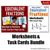 Equivalent Fractions Worksheets and Equivalents Fraction Task Cards Bundle