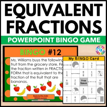 Equivalent Fractions Activity: Equivalent Fractions Game o