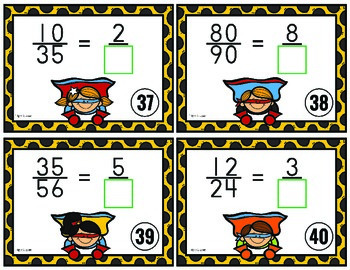 Equivalent Fractions Task Cards - Missing Denominator