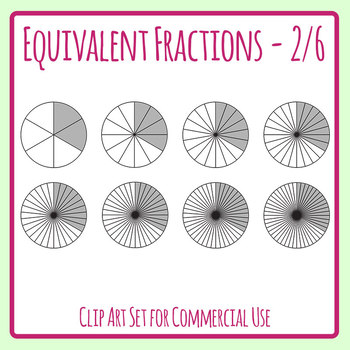 Equivalent Fractions - 2/6 - Two Sixths Math Clip Art Set Commercial Use