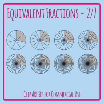 Equivalent Fractions - 2/7 - Two Sevenths Math Clip Art Set Commercial Use