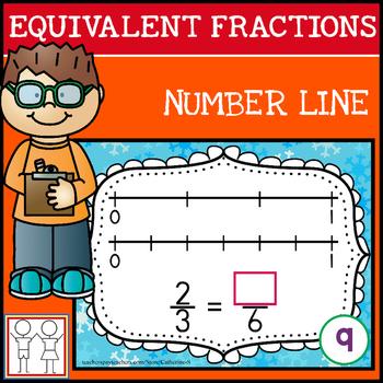 Equivalent Fractions on a Number Line Task Cards