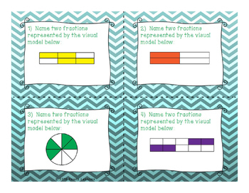Equivalent Fractions Task Cards for 3rd Grade Fractions Standard 3.NF.3