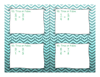 3rd Grade Equivalent Fraction Task Cards for Equivalent Fraction Activity 3.NF.3