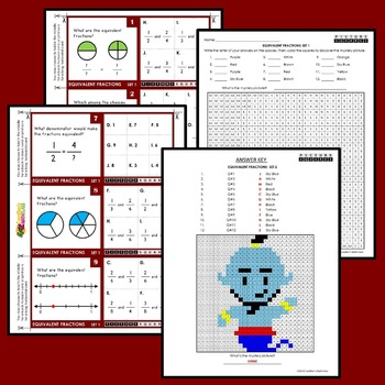 Equivalent Fractions Activity, Mystery Pictures Fraction Equivalents Task Cards