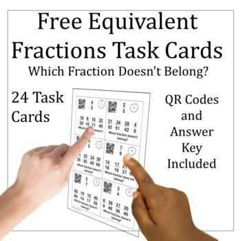 Equivalent Fractions 5.NF.A.1 With QR Task Cards