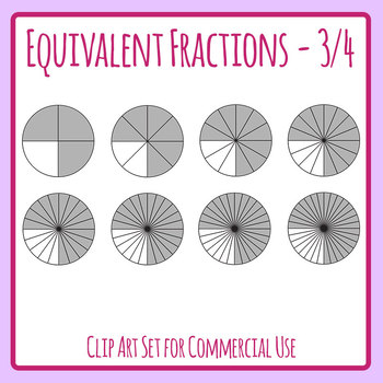 Equivalent Fractions - 3/4 - Three Quarters Math Clip Art Set Commercial Use