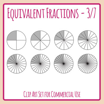Equivalent Fractions - 3/7 - Three Sevenths Math Clip Art Set Commercial Use