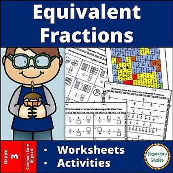 equivalent fractions worksheets and activities by elementarystudies