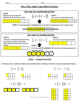 Equivalent Fractions Lesson and Review Worksheets