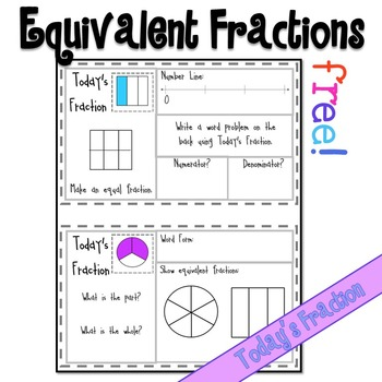 Equivalent Fractions Mini Math Warm Up Sample Page